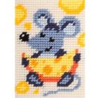 Набор для вышивания с пряжей BAMBINI  X2157 «Мышь с сыром» 10*14 см