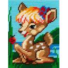 Набор для вышивания с пряжей BAMBINI  X2231 «Оленёнок на лужайке» 15*20 см