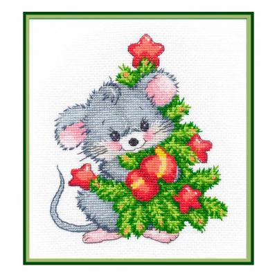Набор для вышивания Овен №1247 «Мышонок с ёлкой» 13*16 см в интернет-магазине Швейпрофи.рф