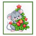Набор для вышивания Овен №1247 «Мышонок с ёлкой» 13*16 см