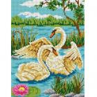 Рисунок для вышивания бисером Каролинка КБЖ-4016 «Пара лебедей» 19*25 см