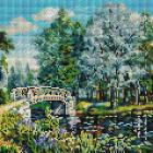 Алмазная мозаика Белоснежка на дер.осн. БЛ.268-ST-S «Мостик в парке» 30*30 см