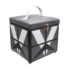 Шкатулка BN-3689 квадрат «Белые треугольники на сером» искуст. кожа 19*19*17,5 см