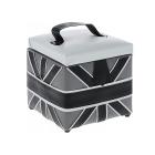 Шкатулка BN-3690 квадрат «Белые полосы на черном» искуст. кожа 19*19*17,5 см
