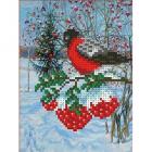 Рисунок для вышивания бисером Каролинка КБЖ-5009 «Снегирь» 12,5*15 см