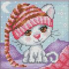 Алмазная мозаика АЖ-1571 «Сонный котенок» 15*15 см