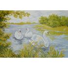 Рисунок на канве МП (37*49 см) 0715 «Три лебедя на реке»