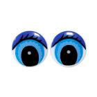 Глаза «круг» с ресницами 407-4001 24 мм синий