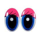 Глаза винтовые «овал» с ресницами 19*30 мм, розовый/синий