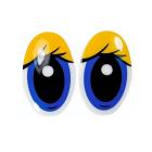 Глаза винтовые «овал» с ресницами 26*39 мм, желтый/синий