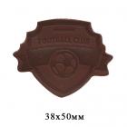 Термоаппликация Футбол 3,8*5 см дизайн №13 100% кожа коричневый