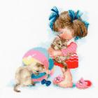Набор для вышивания Риолис №1833 «Сколько у Кати котят?» 25*25 см