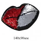 Термоаппликация ГФ2466 «Губы» 90*140 мм черный+красный