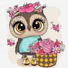 Набор для раскрашивания Molly KH0466  «Сова с корзиной цветов» 20*20 см