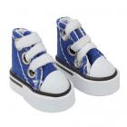 Обувь для игрушек (Кеды) 26986  3,9 см  выс.3, см на шнурках синий  (1 пара)