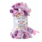 Пряжа Пуффи Колор (Puffy Color), 100 г / 9.2 м  6077 белый/сиреневый/розовый