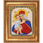 Рисунок для вышивания бисером Благовест И-5034 Дева Мария с младенцем Иисусом 13*17 см