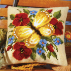 Набор для вышивания VERVACO 0008588-PN Подушка «Бабочки и маки» 40*40 см