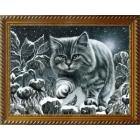 Алмазная мозаика АЖ-1415 «Кот на заборе» 30*40 см