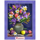 Алмазная мозаика АЖ-1693  «Нарцисы и ирисы» 30*40 см