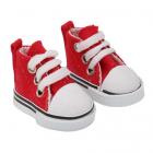Обувь для игрушек (Кеды) 25240  5,0 см  выс.3,3 см шнурки красный (1 пара)