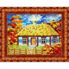 Рисунок для вышивания бисером Каролинка КБП-4003 «Осень в деревне» 19*26 см