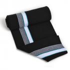 Подвяз трикотажный п/эTBY73057 черный с белыми и голубыми полосами 14*100см
