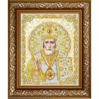 Рисунок для вышивания бисером Благовест ЖС-4006 «Святой Николай в жемчуге» 25*25 см