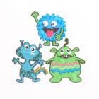 Термоаппликация 924300 «Монстрики» Prym синий/зеленый  (уп 3 шт) 4*4.5 см 7729617