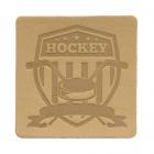 Термоаппликация Хоккей 5*5 см дизайн №41  100% кожа бежевый 552165
