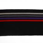 Подвяз трикотажный п/эTBY73051 черный со св.серой, серой, фиолетовой и красной полосами 16*100см
