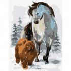 Картина по номерам Molly KH0792 «Лошадь с собакой на прогулке» 15*20 см