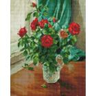 Алмазная мозаика Подсолнух NA144 «Алые розы у окна»  40*50 см круглые стразы на подрамнике