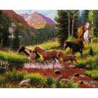 Алмазная мозаика Подсолнух UA174 «Лошади в горах» 40*50 см на подрамнике