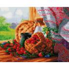 Алмазная мозаика Подсолнух UA176 «Лукошко с клубникой» 40*50 см на подрамнике