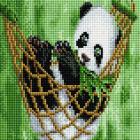 Алмазная мозаика Подсолнух UC127 «Панда в гамаке» 20*20 см на подрамнике