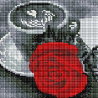 Алмазная мозаика Подсолнух UC144   «Чашка кофе и роза» 20*20 см на подрамнике