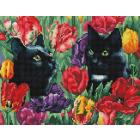 Алмазная мозаика Подсолнух VA199 «Коты в тюльпанах» 40*50 см на подрамнике круглые стразы