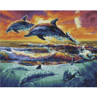 Алмазная мозаика Подсолнух VA292 «Стая дельфинов» 40*50 см на подрамнике круглые стразы