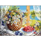 Рисунок на канве Гелиос Ц-061 «Корзина с цветами» 35*45 см