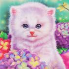Алмазная мозаика DIY (с рамкой) LM-K20280 «Котенок в цветах» 20*20 см