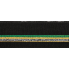 Подвяз трикотажный п/э 3AR536  6*100 см черный с зел/желт/серебр полосами