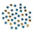 Стразы пришивн. «Астра»  6 мм в цапах/золото 4AR169/176 хруст. (уп 40 шт) 7727642 36 бирюзовый