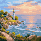 Картина по номерам Molly KH0718  «Маяк на заливе» 30*30 см