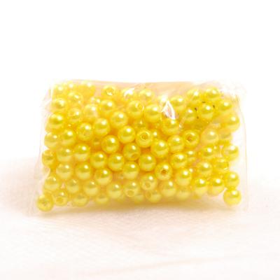 Бусины пластм.  4 мм (уп. 10 г) А08 лимон в интернет-магазине Швейпрофи.рф