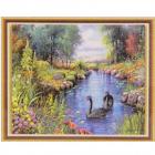 Алмазная мозаика DIY К-1739 «Лебеди на реке» 28*38 см