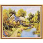 Алмазная мозаика DIY К-1658 «Дом у реки» 28*38 см