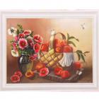 Алмазная мозаика DIY (с рамкой) Q-129 «Корзина персиков» 20*30 см