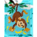 Набор для вышивания с пряжей BAMBINI  X2255 «Мартышка» 15*20 см