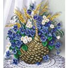 Ткань для вышивания бисером М.П.Студия Г-076 «Корзинка с цветами» 40*40/23*28 см